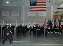 A recruit graduation at the USS Midway Ceremonial Drill Hall in January 2008