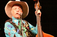 "Country music bassist ""Too Slim"" (Fred LaBour of Riders in the Sky) performing in Ponca City, Oklahoma, in 2008"