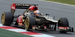 Grosjean testing the Lotus E21 in Barcelona.