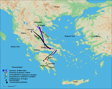 The route of the Argeads from Argos, Peloponnese, to Macedonia according to Herodotus.