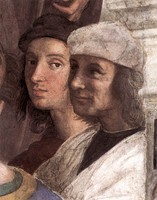 Self-portrait, Raphael in the background, from The School of Athens