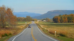 Eastern view from Vermont Route 17 in Addison of Snake Mountain (right) and Mount Abraham (center).