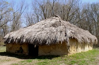 A wattle and daub house of the type used by Native Americans during the late prehistoric period