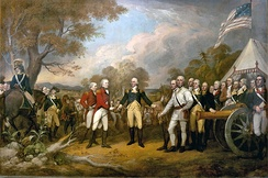 British general John Burgoyne shown surrendering at Saratoga (1777), Surrender of General Burgoyne painting by John Trumbull 1822
