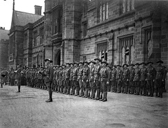 The Sydney University Regiment forming a guard of honour for the visit of the Duke of York (later George VI) to the university in 1927