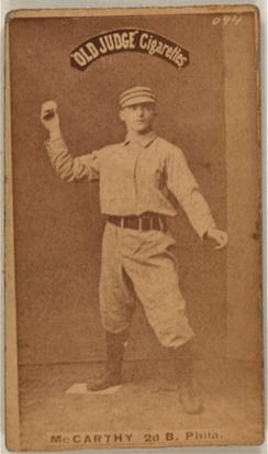 Tommy McCarthy on an 1887-90 Goodwin & Company baseball card (Old Judge (N172)).