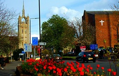 Trinity Church (left) and Sutton Baptist Church (right), Cheam Road
