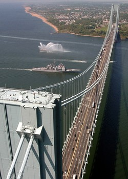 The Verrazano-Narrows Bridge, looking toward Staten Island from Brooklyn
