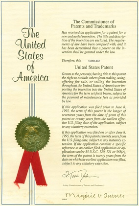 A patent issued by the U.S. Patent and Trademark Office