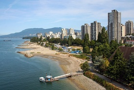 View of West End along the Vancouver coast and Beach Avenue