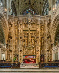 The High Altar, featuring an ornate 15th-century stone screen