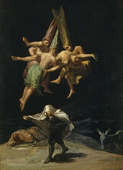 Francisco Goya's Witches in the Air (1798), the painting stolen in the film. In reality it is part of the collection of the Museo del Prado.