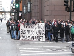 Global warming protestors in Chicago 2008
