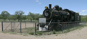 AT&SF #1129, a 1902 Baldwin 2-6-2 Prairie locomotive, preserved at Las Vegas, New Mexico since 1956