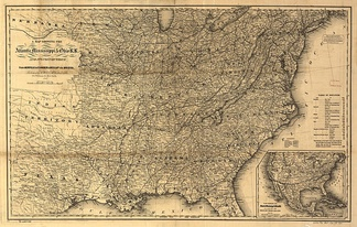 A map showing the Atlantic Mississippi & Ohio R.R. and its connections from Norfolk to Cumberland Gap via Bristol.