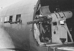 Douglas AC-47 Spooky with SUU-11/A pods, one minigun points out the cargo door, and one each points out of the two windows forward of the door.