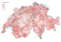 Percentage of foreigners in Switzerland (2019)