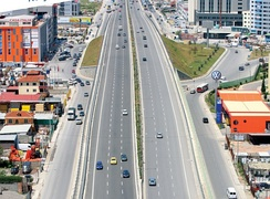 The SH2 national road in linking Tirana with the port city of Durrës. The road was the first highway to be reconstructed in Albania following the end of communism in 1991.