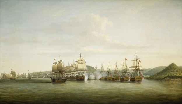 Saint Lucia was constantly fought over by the British and the French during the 18th century, This painting depicts the Battle of St. Lucia, 15 December 1778, when 12 French ships led by Admiral d'Estaing (left) attacked seven British ships (right) commanded by Admiral Barrington.
