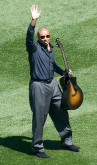 Williams greeting fans during a pregame musical performance at the new Yankee Stadium in 2009