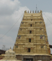 Tower of the temple painted in light yellow.