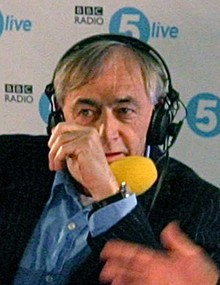 A photo of Bill Forsyth being interviewed on a radio show