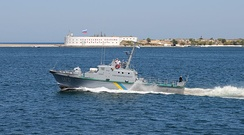 Ukrainian Navy artillery boat U170 in the Bay of Sevastopol
