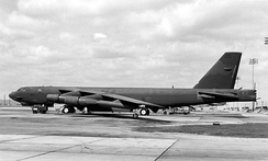 A Boeing B-52H (SN 60-0017), the type assigned to the 410th Bomb Wing at K. I. Sawyer AFB
