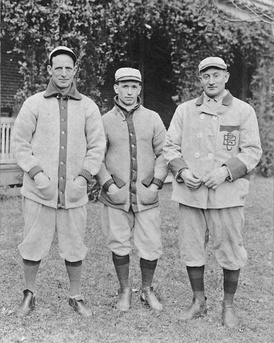 Clarke (left) with Pirates teammates Tommy Leach and Honus Wagner