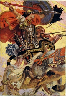 A fantasy painting showing legendary hero Cúchulainn in battle