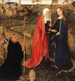 """Visitation"" with donor portrait, from Altarpiece of the Virgin (St Vaast Altarpiece) by Jacques Daret, c. 1435 (Staatliche Museen, Berlin)"