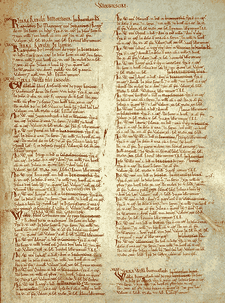 A page of Domesday Book for Warwickshire; a key source for historians