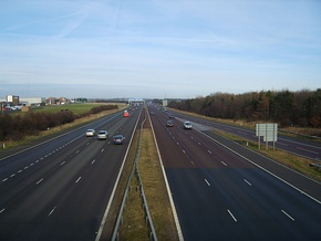 Looking northwards at Washington Services as the A1(M) approaches Junction 65