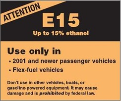 EPA's E15 label required to be displayed in all E15 fuel dispensers in the U.S.