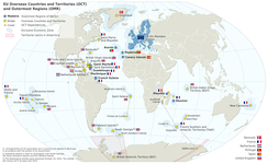 Map of the European Union in the world with overseas countries and territories and outermost regions