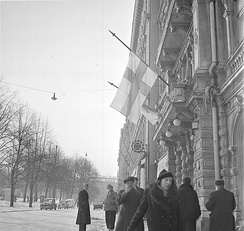 Finnish flags at half-staff in Helsinki on 13 March 1940 after the Moscow Peace Treaty became public