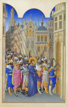 The Limbourg brothers. Christ Led to Judgment, folio 143r[18]