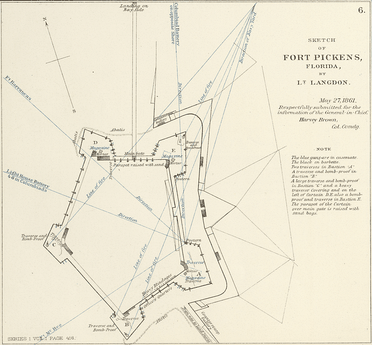 Sketch of Fort Pickens, Florida, by Lt. Langdon, 1861.