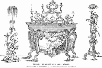 Design for Commode and lamp stands by Thomas Chippendale (1753–54)