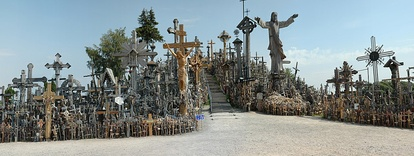 Hill of Crosses near Šiauliai. First crosses on the hill were built after the 1831 and 1863 uprisings against the Russian Empire by families who could not locate bodies of perished rebels. The Soviets bulldozed the site at least three times, but it was later restored.[373]