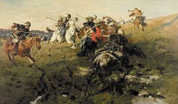 Zaporozhian Cossacks fighting Tatars from the Crimean Khanate—late 19th-century painting