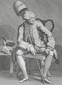 Hogarth's satirical engraving of the radical politician John Wilkes.