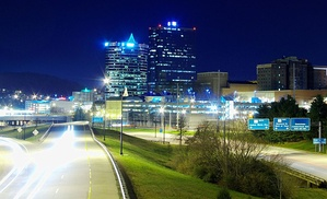 The James White Parkway connects I-40 with Downtown Knoxville.