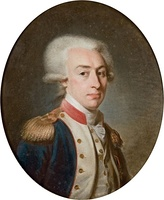 Marquis de Lafayette (1757–1834) wearing a powdered wig tied in a queue that was a common piece of men´s dress by c. 1795.