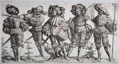 Depiction of German Landsknechts circa 1530, renowned mercenary infantry of the Medieval period famous for their long halberds and Zweihänder swords.