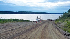 Ferry across Liard River, way to Fort Simpson, Northwest Territories