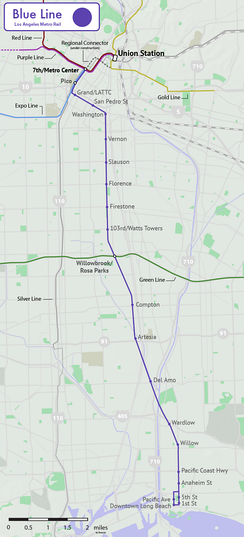 Map of the Blue Line, including the under-construction 2021  Regional Connector extension. Dashed lines indicate Metro routes planned or under construction.