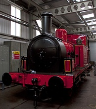 A preserved Manchester Ship Canal Railway 0-6-0T locomotive, now on display at The Engine House in Highley[102]