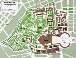 An enlargeable map of Vatican City State, including extraterritorial properties of the Holy See bordering Vatican City