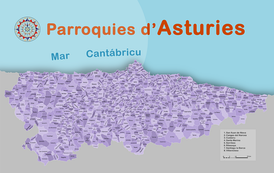 Map with all the Parishes in Asturias.
